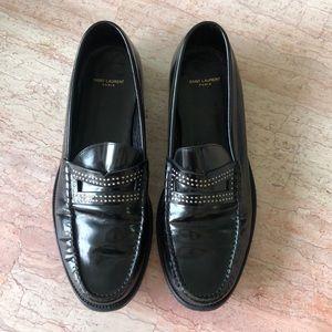 Saint Laurent Patent Penny Loafers size 44